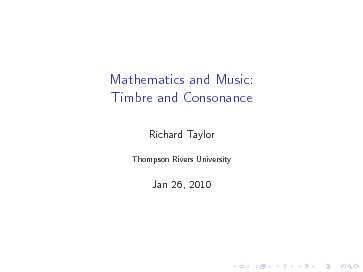 Mathematics and Music:Timbre and Consonance PowerPoint PPT Presentation