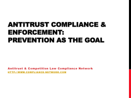 Antitrust compliance & enforcement: