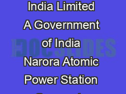 Page of  Nuclear Power Corporation of India Limited A Government of India Narora Atomic Power Station Corporate Social Responsibility Program No