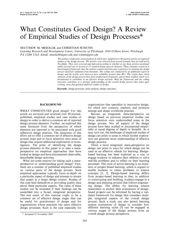 What Constitutes Good Design a  Review of Empirical Studies of Design Processes