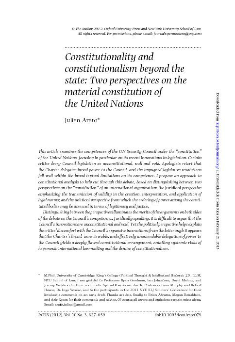 Two perspectives on the material constitution of the united nations