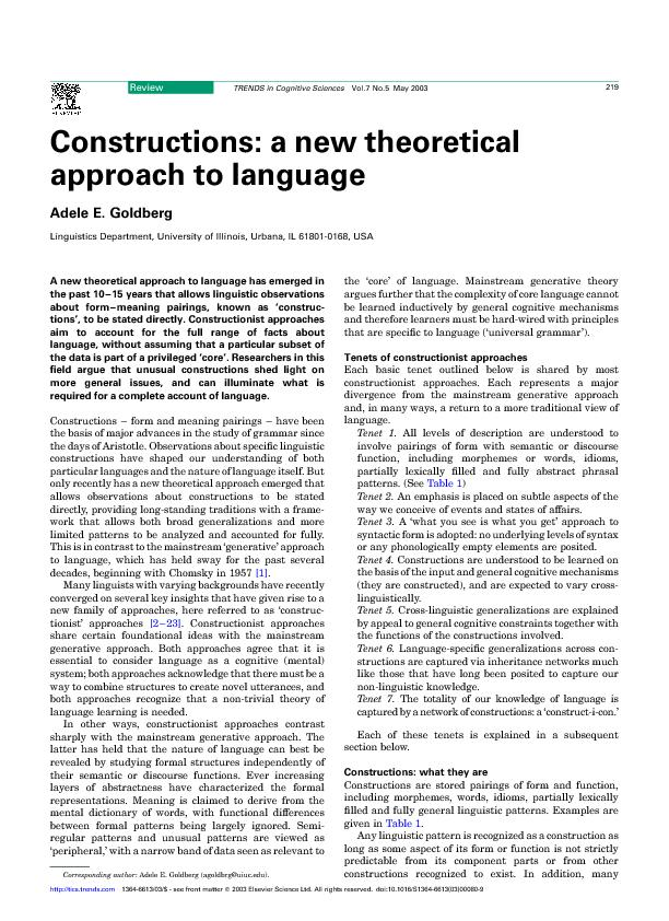 Constructions :a new theoretical approach to language