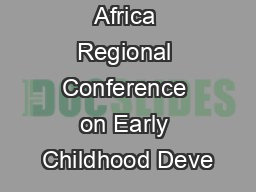 Southern Africa Regional Conference on Early Childhood Deve