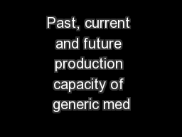 Past, current and future production capacity of generic med
