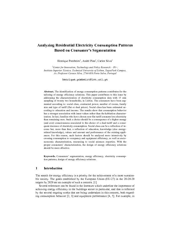 Analyzing residential electricity consumption patterns based on consumer,s segmentations