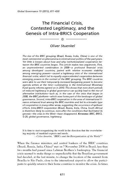 The  financial crisis, contested legitimacy and the genesis of the intra-brics cooperation
