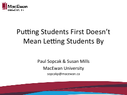Putting Students First Doesn't Mean Letting Students By PowerPoint PPT Presentation