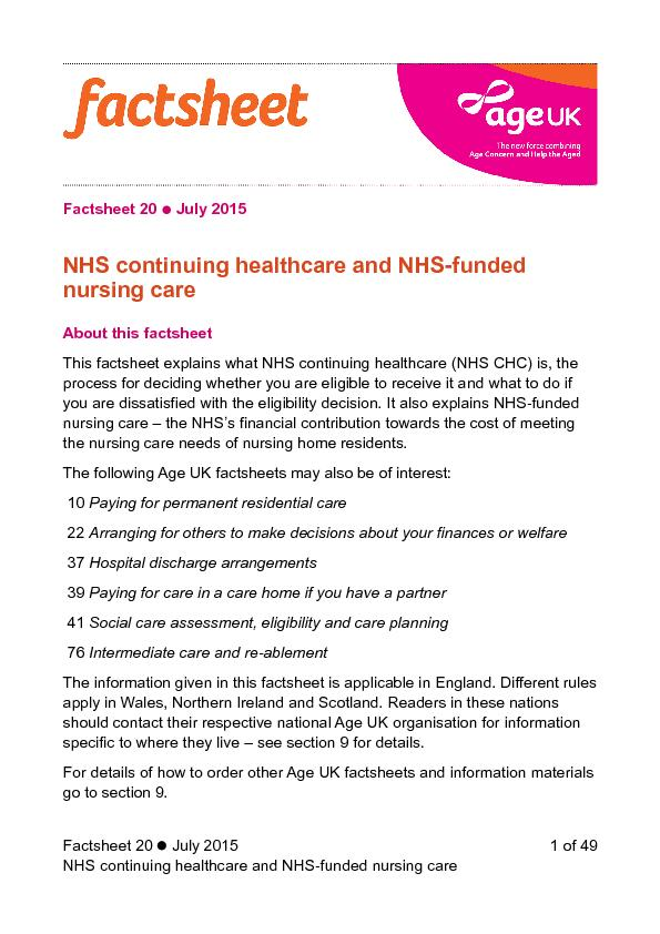 NHS continuing healthcare and NHS- funded nursing care
