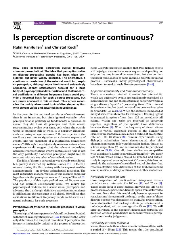 Is perception discrete or continuous