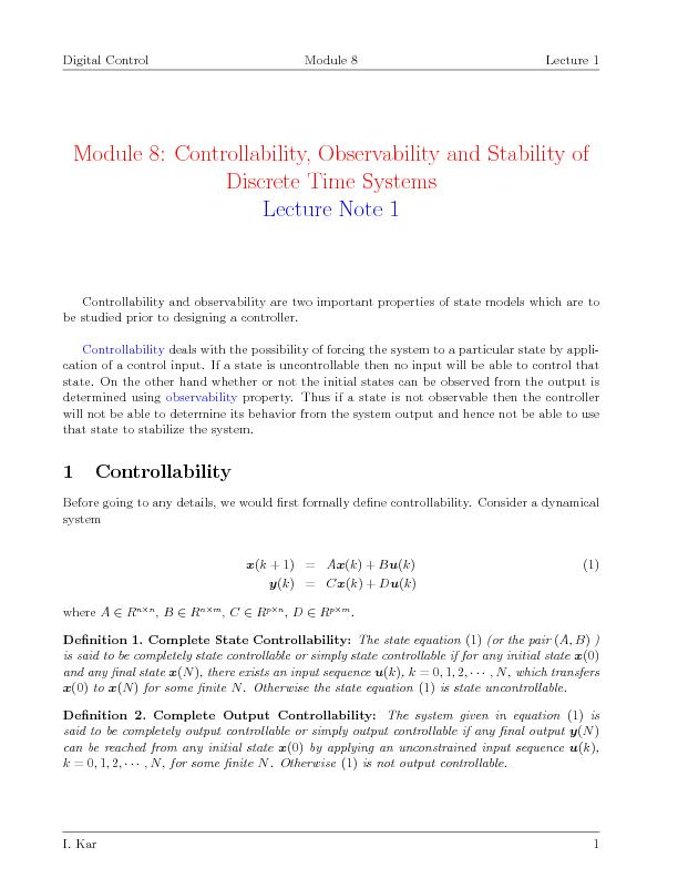 Observability and stability of discrete time systems