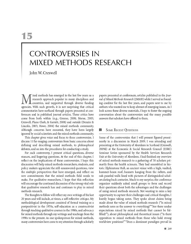 Controversies in mixed methods research