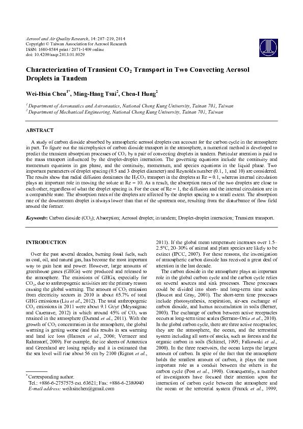 Characterization of transient co, transport in two convecting  aerosol droplets in tandem