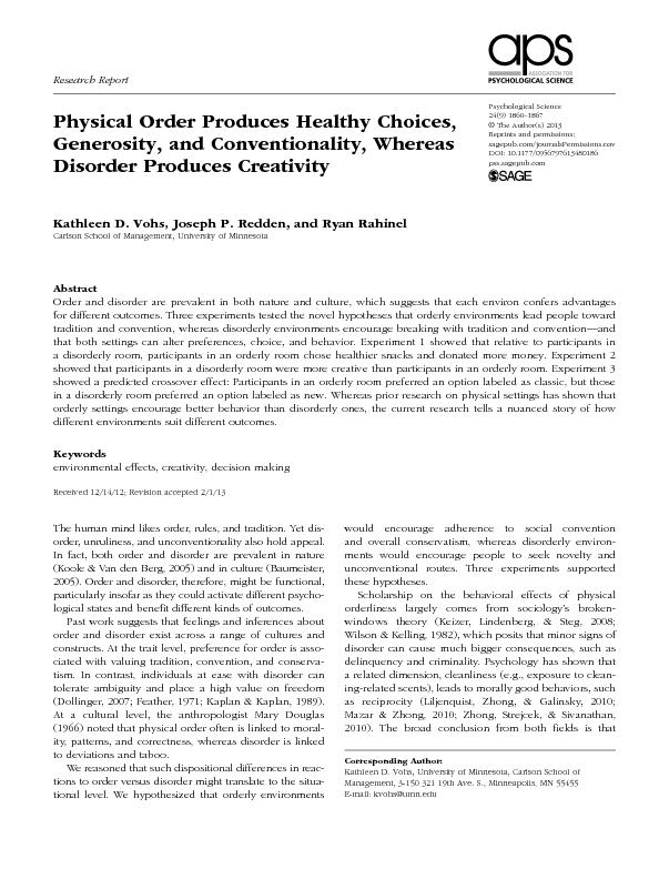 Physical order produces healthy choices
