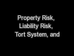 Property Risk, Liability Risk, Tort System, and