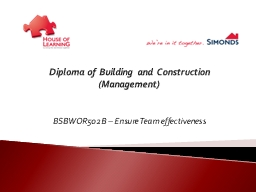 Diploma of Building and Construction (Management