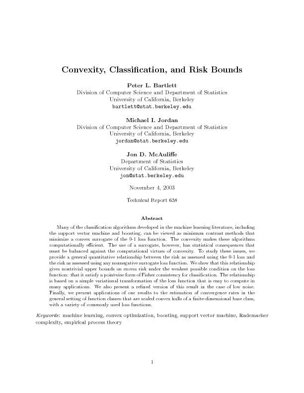 Convexity Classication and Risk Bounds
