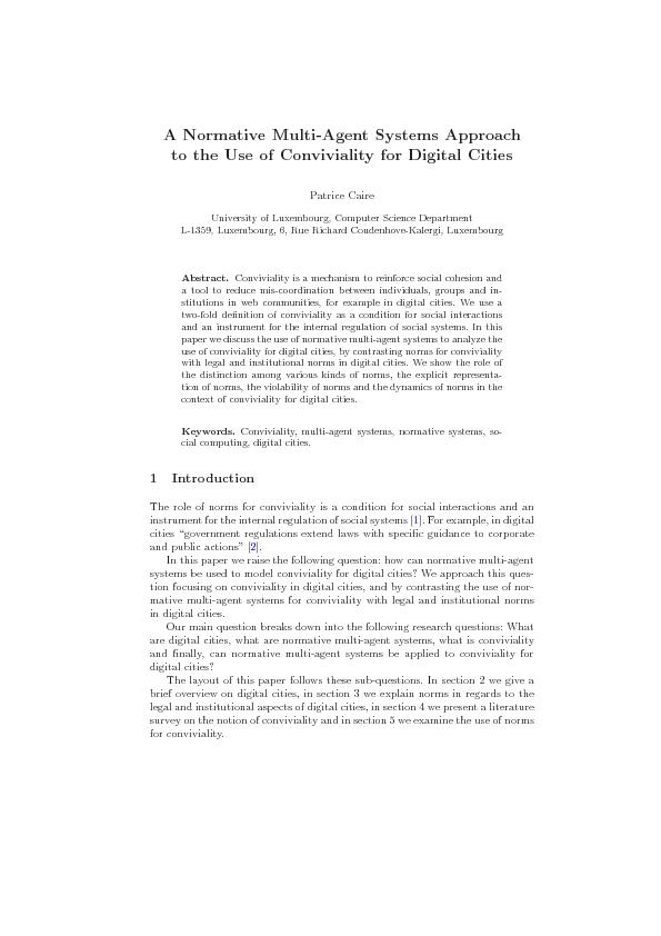 A Normative Multi-Agent Systems Approach to the Use of Conviviality fo rDigital Cities
