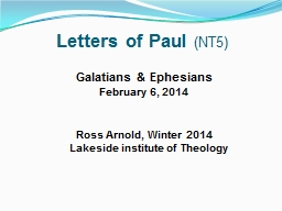 Letters of Paul PowerPoint PPT Presentation