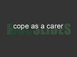 cope as a carer