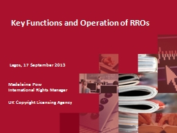 Key Functions and Operation of