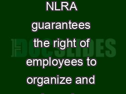 Under the National Labor Relations Act The National Labor Relations Act NLRA guarantees the right of employees to organize and bargain collectively with their employers and to engage in other protect PowerPoint PPT Presentation