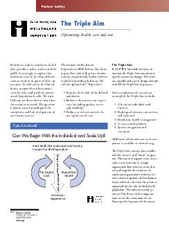 Patient Safety The Triple Aim Optimizing health care and cost PDF document - DocSlides