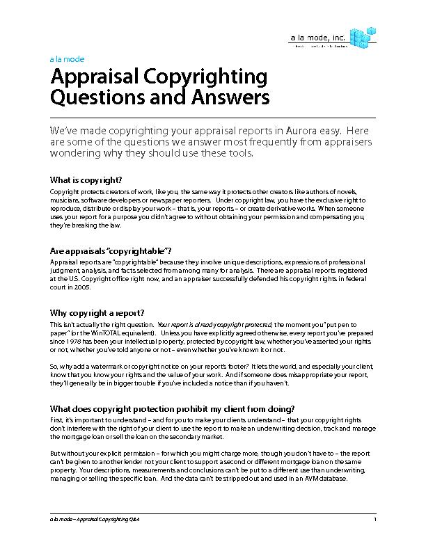 Appraisal copy righting questions and answers
