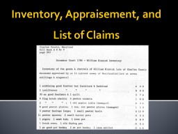 Inventory, Appraisement, and