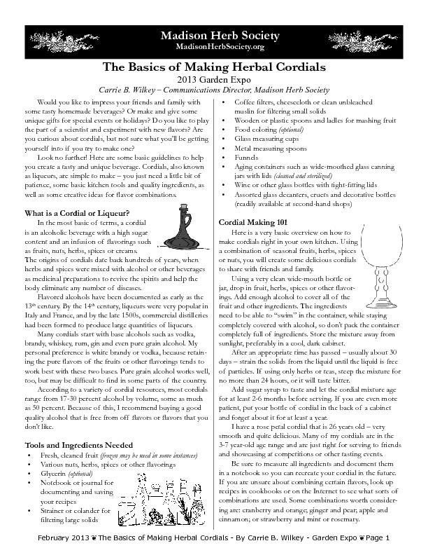 The Basics of Making Herbal Cordials