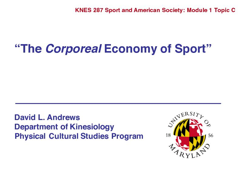 SPORT ECONOMYThe Public Body(Commodity 1)Active Body as ObjectThe Priv