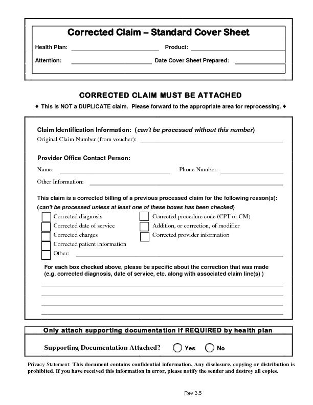Corrected Claim standard cover sheet