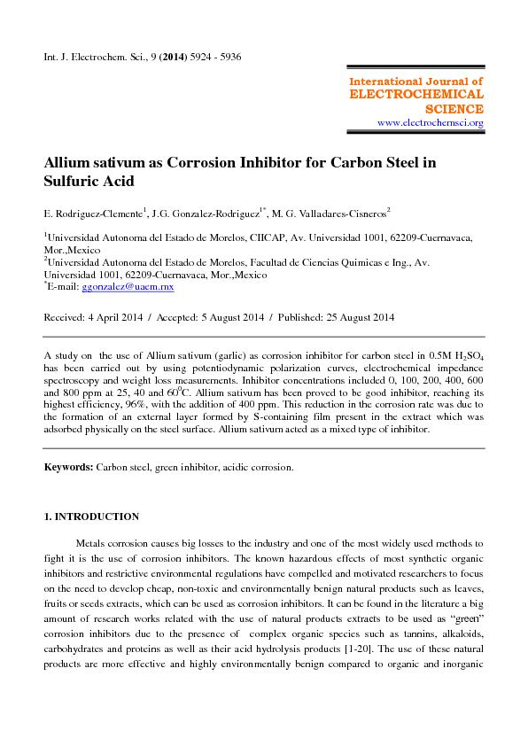 Allium sativum as corrosion inhibitor for bcarbon steel in sulfuric acid