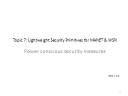Topic 7: Lightweight Security Primitives for MANET & WS