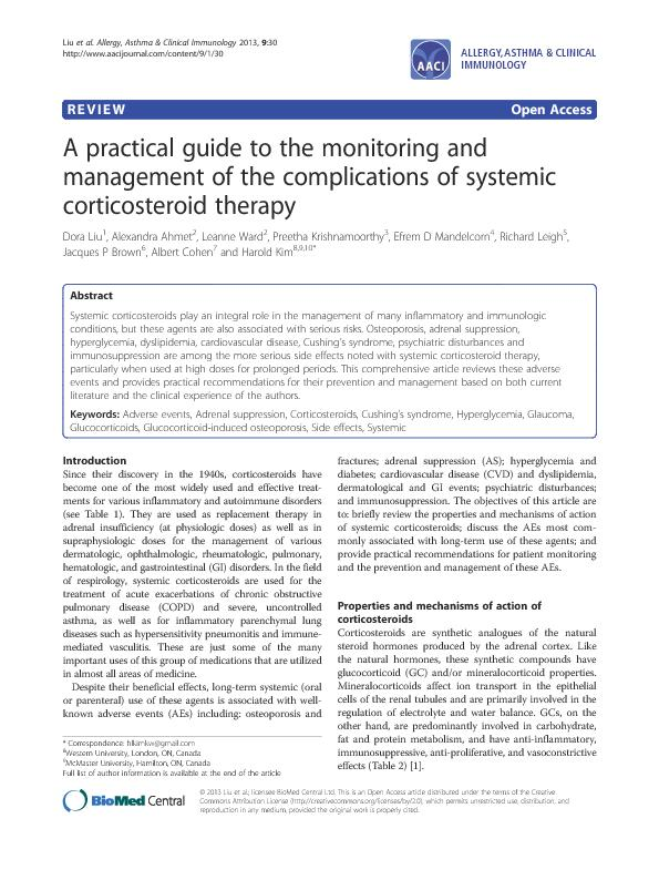 A practical guide to the monitoring and management of the complications of systemic corticosteroid  therapy