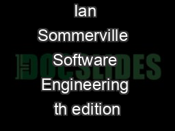 Ian Sommerville  Software Engineering th edition