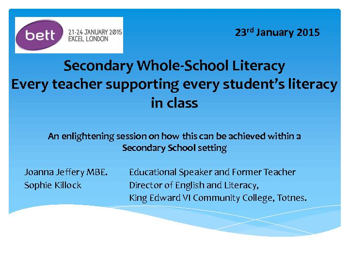 Secondary Whole  school literacy every teacher supporting every student's literacy in class