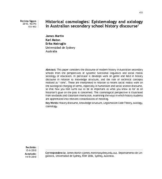 Epistemology and axiology in Australian secondary school history discourse