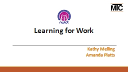 Learning for Work PowerPoint PPT Presentation
