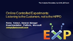 Online Controlled Experiments: