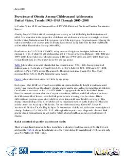 June  Prevalence of Obesity mong Children and Adolescents United States rends