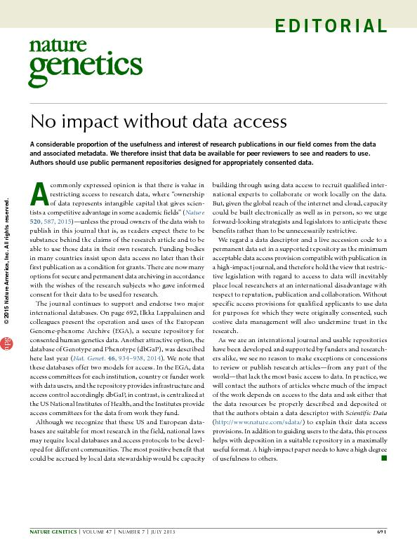 No impact without data access
