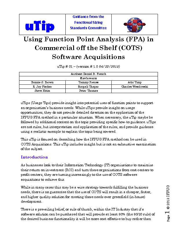 Using function point analysis in commercial off the shelf soft ware acquisition