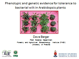 Phenotypic and genetic evidence for tolerance to bacterial