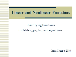 Linear and Nonlinear Functions PowerPoint PPT Presentation