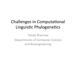 Challenges in Computational Linguistic