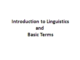 Introduction to Linguistics and