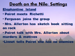 Death on the Nile: Settings