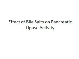 Effect of Bile Salts on Pancreatic Lipase Activity