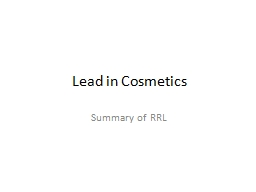 Lead in Cosmetics PowerPoint PPT Presentation