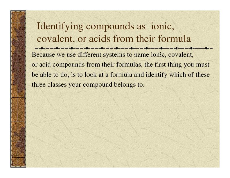 Identifying compounds as  ionic covalent or acids from their formula